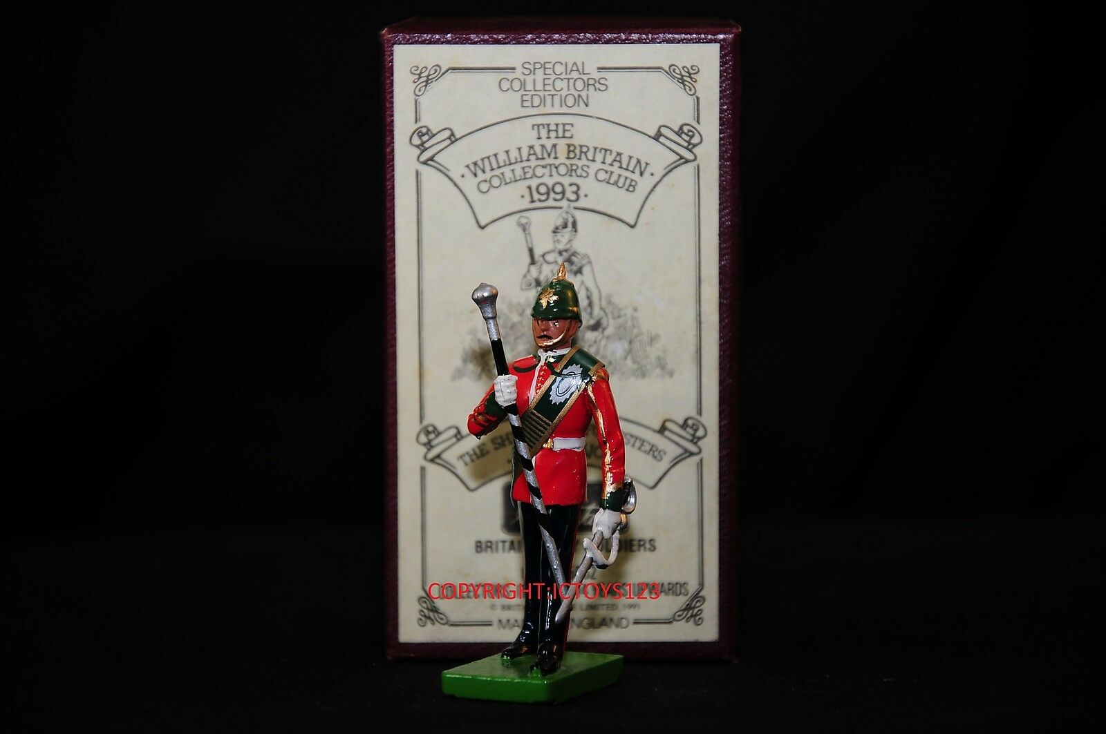 BRITAINS 5862 SHERWOOD FORESTERS BAND DRUM MAJOR METAL TOY SOLDIER FIGURE