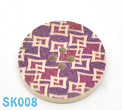 Choice of Painted Designs 6 X Large 30mm 4 hole Wooden Buttons