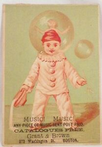 Music-Music-Sent-Post-Paid-Victorian-Trade-Card-Clown-Antique-Grant-amp-Brown