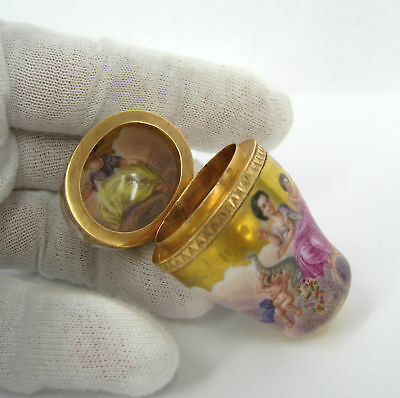 1900's Antique Enamel Clouds & Figures Solid Gold Pill Box Thimble Case
