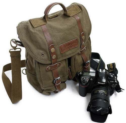 vintage canvas pocket leather camera backpack E0013