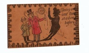 Leather Post Card early 1900's great condition 100+yrs old Drinking Theme unused