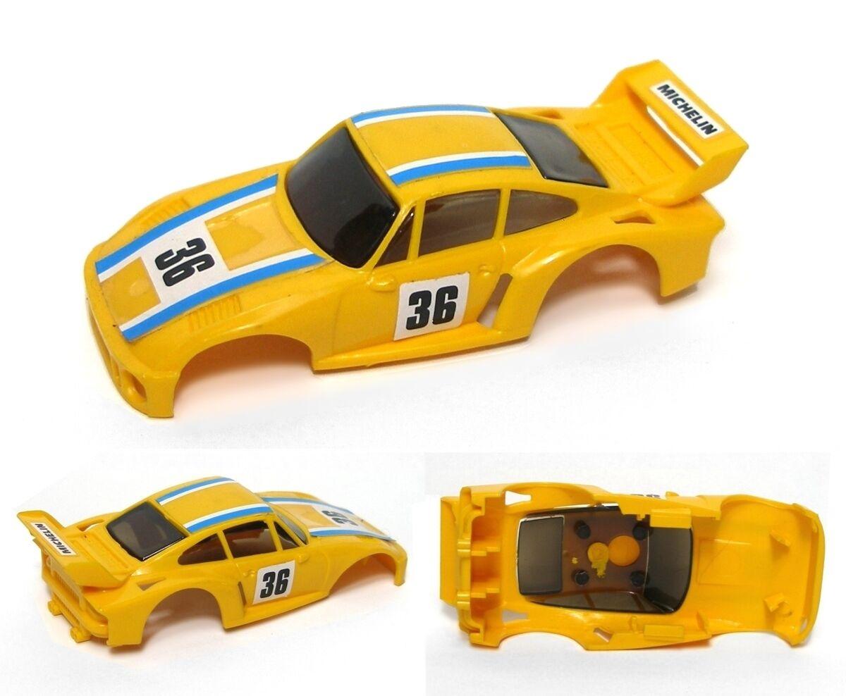 1980 Ideal TCR Porsche SUPER YELLOW #36 Slot Car Body
