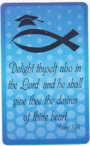 LOT 10 Graduation Pocket Prayer Cards, Christian Bible Scripture Psalm 37:4