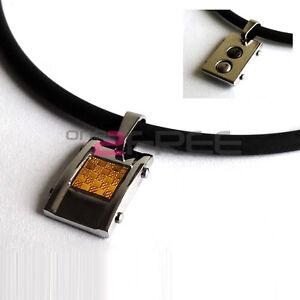 New-Power-Titanium-Germanium-Gold-Carbon-Fiber-Pendant-Necklace-Free-Ship-w-Box