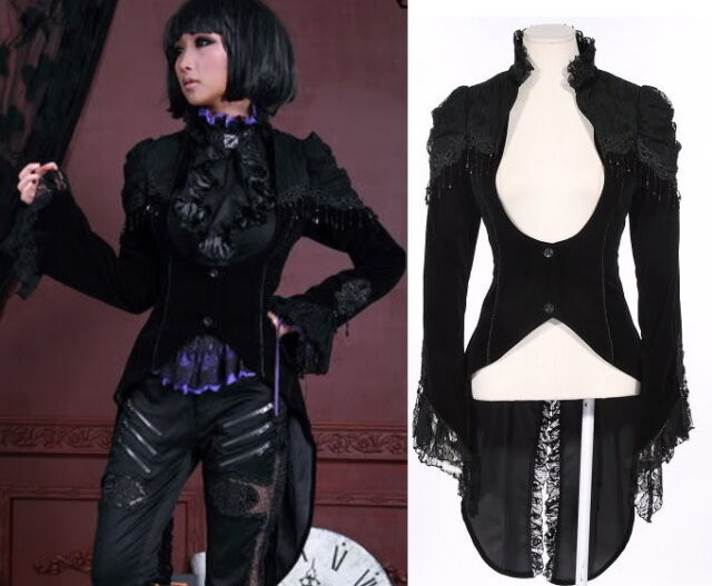 21119 GOTH VISUAL KEI BLK PUNK BLACK LACE swallow-tailed Coat JACKET *RETRO S-XL