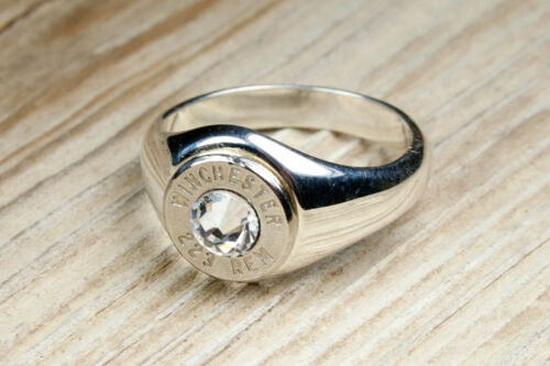 Solid .925 Sterling Silver Band Nickel Bullet Women's Ring WIN-#-N-WSTER