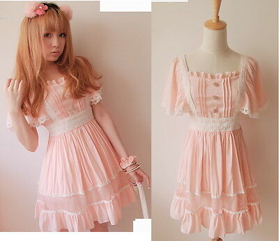 Kawaii Trendy Princess Cute Sweet Dolly Gothic Punk Lolita Slim Dress Pink color