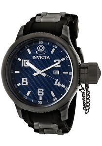 Invicta-Watch-0554-Men-039-s-Russian-Diver-Blue-Dial-Black-Rubber
