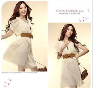 Korean-Fashion-Vintage-Women-039-s-Chiffon-Pleated-Slim-Light-Dress-Casual-4-Colors