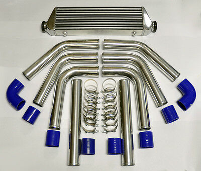"Universal High Quality Intercooler & 2.5"" 8pc Piping Kit Polished Aluminum Blue"