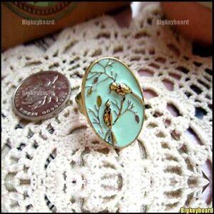 Retro-lovely-Little-Double-Birds-birdie-Green-Branch-Ring