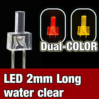 739/10# LED 2mm dual color red and  yellow  -  10pcs - water clear