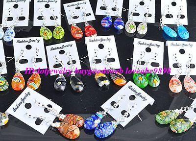 wholesale 24pairs drop millefiori glass earrings