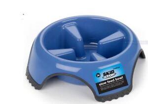 Anti Bloat No Gulp JW Slow Feed Dog Bowl Dish LARGE BLUE