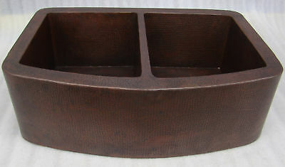 "* COPPER Kitchen Sink 33""x22"" Farmhouse ROUND Apron 50/50 dark patina FINISH"