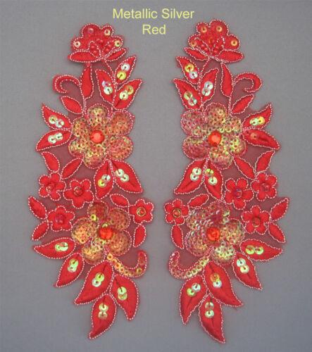 2 Pieces Venise Lace Sequins /&  beaded Applique Trim Motif #10  12 colours