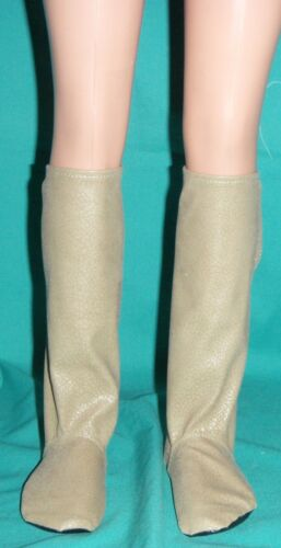 Light Sand Faux Leather Knee High Soft Sole Boots for My Size Barbie Doll MYBT15