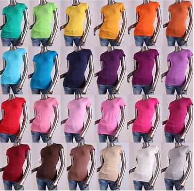 Women/Junior Plain Basic Short SLV Stretch T-Shirts Solid Cotton Crew neck top