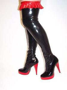 Black Latex Rubber High Boots Size 5 16 Heels 5 5