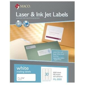 Maco-ML-3000-Address-Labels-1-034-x-2-5-8-30-to-The-Page-90-000-Labels