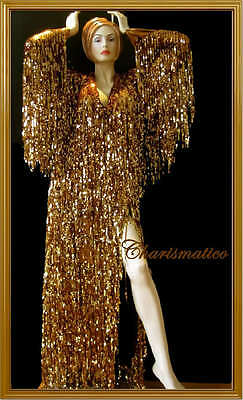 GOLD Sequin DIVA Transform DRAG QUEEN LONG SLEEVE Gown