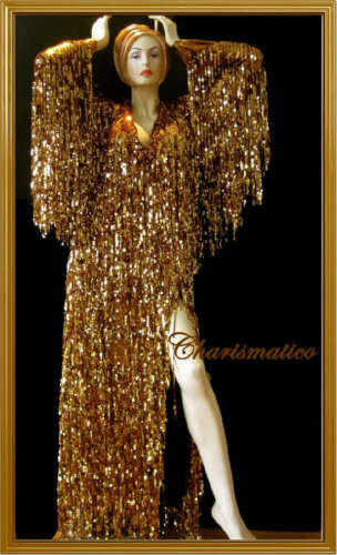 GOLD Sequin DIVA Transform DRAG QUEEN LONG SLEEVE Gown