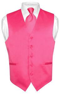 Men-039-s-HOT-PINK-FUCHSIA-Tie-Dress-Vest-and-NeckTie-Set-for-Suit-or-Tuxedo