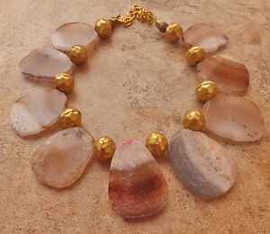 COTTON CANDY PINK CHOCOLATE BROWN AGATE PENDANT NECKLACE BIG FRINGE gold JEWELRY