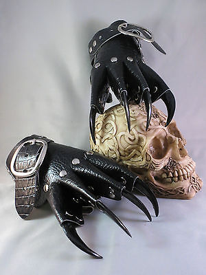 Black Scale Leather Claw Gauntlets Gothic Gloves