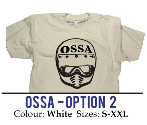 "/""OSSA/"" Opt 2 Vintage Dirt Bike Helmet Badge Collection T-shirt  MOTOCROSS VMX"