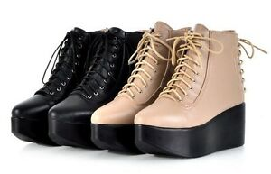 T2924-Japan-Korea-Fashion-Women-2-Colors-Platform-Lace-Up-Boot-Cut-Shoes-34-39
