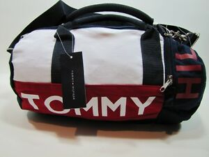 NWT-TOMMY-HILFIGER-MINI-DUFFLE-GYM-BAG-TOTE-BLUE-RED