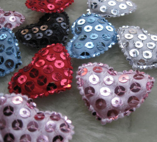50pcs Padded Felt heart Sequin Appliques Craft Kid/'s Doll Lots Upick