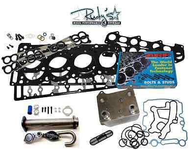 6.0L Ford Diesel Kit Head Studs EGR Delete Dorman Oil Cooler Gaskets 18mm 03-07