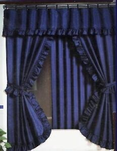 FABRIC Essential Home Mirage Navy Blue Swag Liner SHOWER CURTAIN SET