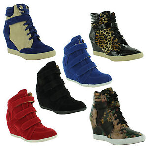 New-Ladies-Velcro-Strap-High-Top-Ankle-Sneakers-Wedge-Shoes-Sizes-UK-3-4-5-6-7-8
