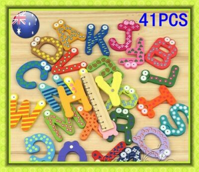 Set 26 Wooden Magnetic Alphabet Letters A-Z+15 Numbers Maths Fridge Magnets GIFT