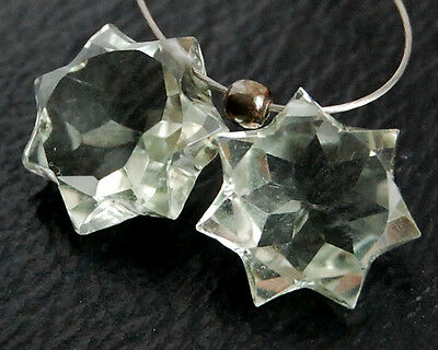 Eye Clean Green Amethyst Fancy Star Briolette Matched Pair Gemstone Beads
