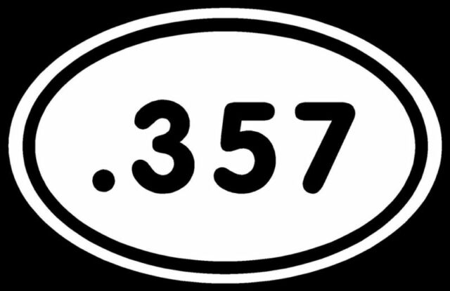 .357 Sticker 357 White Oval Protected By Guns Car Decal