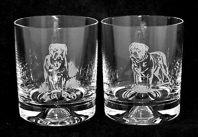 DOGUE DE BORDEAUX *DOG GIFT* Boxed PAIR GLASS WHISKY TUMBLER