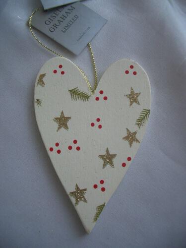 *SILKE LEFFLER*/&*GISELA GRAHAM*Weihnachten*Glitzer*Holzherz*Wood Heart*Holz*