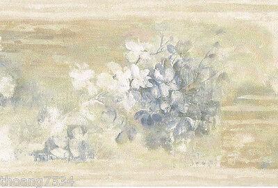 Blue Cream Beige Lilac Flower Floral Soft Brush Oriental Zen Wall paper Border