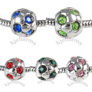 Soccer-Football-Silver-CZ-European-Spacer-Charm-Bead-For-Bracelet-Necklace