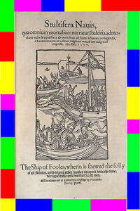 1570-Antique-Early-Old-English-Folio-THE-SHIP-OF-FOOLS-Woodcuts-Plates-Plato