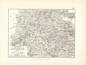 MAP/BATTLE PLAN ~ BATTLE OF LEIPZIG 16th 17th 18th & 19th OCTOBER 1813 ~ SHEET 1