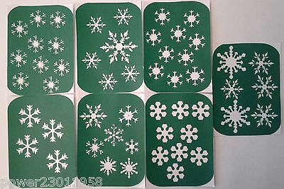 Pack of 7 Snow flake 1 Snowflake Stencils - Glass etching & Glitter Glass making