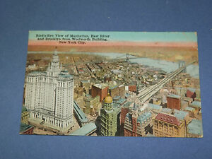 VINTAGE 1929 WOOLWORTH BUILDING BROOKLYN MANHATTAN NEW YORK POSTCARD