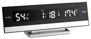 LUXUS-DIGITALWECKER-BLACK-LCD-TFA-60-2011-CRESCENDO-RAUMKLIMAKONTROLLE-WECKER