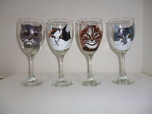 Custom Hand Painted Cat Dog Pet Wine Glass Painted From Your Pets